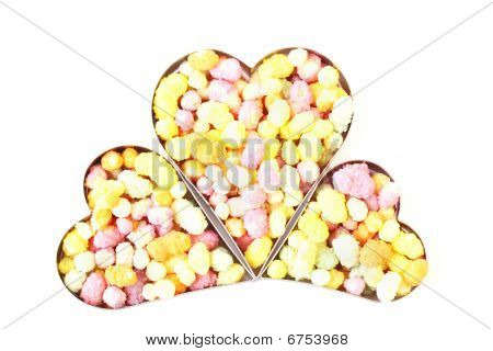 Three Hearts Filled With Candy