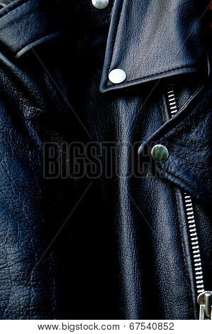 High Contrast Black Leather Biker Jacket Up Close
