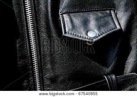 High Contrast Black Leather Jacket Detail