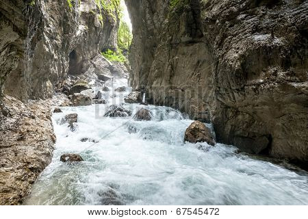 A panoramic image of the Partnachklamm in Bavaria Germany