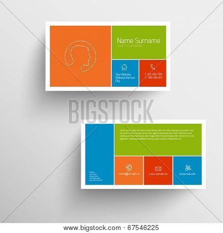 Modern simple business card template with flat mobile user interface