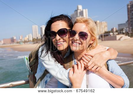 two happy friends touring Durban, South Africa