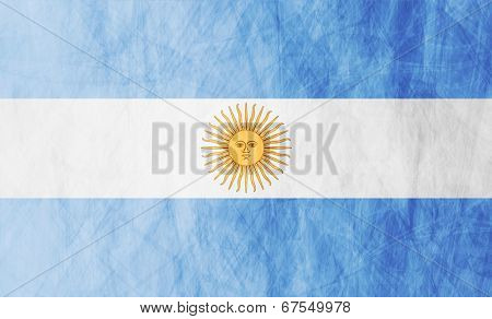 Grunge illustration of Argentinean flag. Vector background