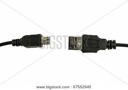 black usb cable isolated on white