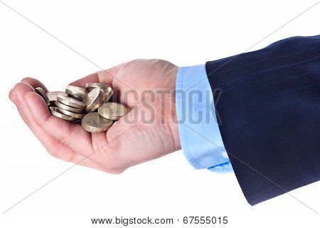 Heap Of British Pound Sterling Coins In The Hand