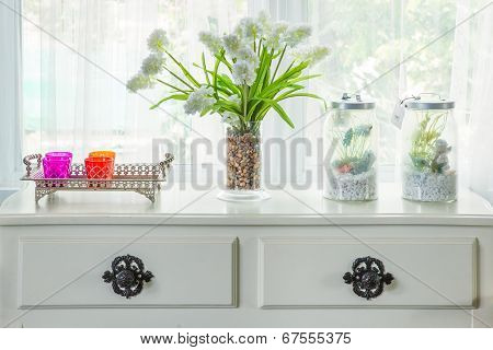 Vase With Flower And Vintage Decorate On Table With Windowsill In Country House