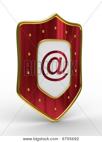 E-mail Protection On White Background. Isolated 3D Image