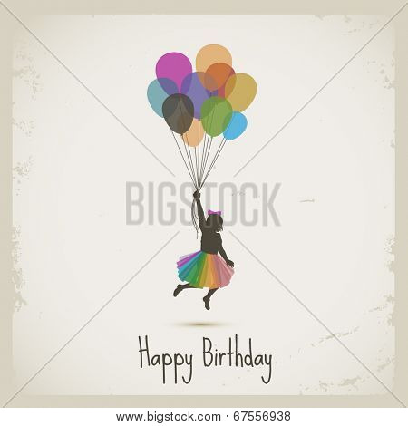 Girl flying with balloons, happy birthday, eps10 vector