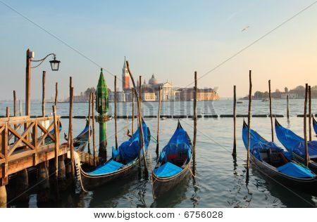 Gondolas in Venice at sunset