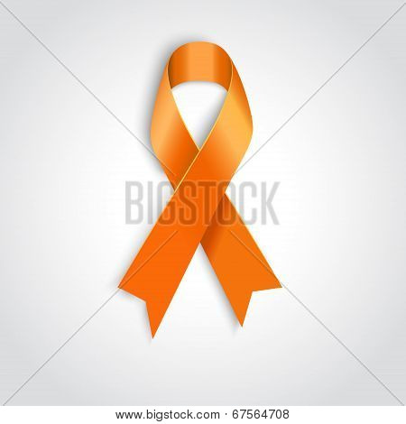 Orange Ribbon On White Background.