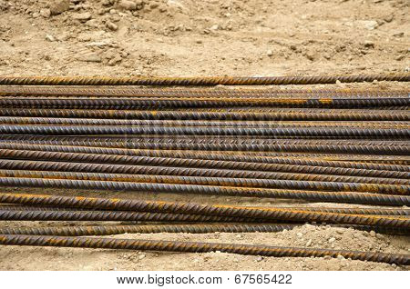 Reinforcing Steel Bars For Building Armature On Sand