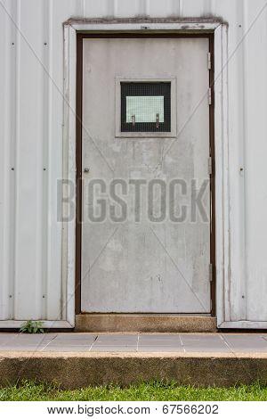 the old door lock and security steel