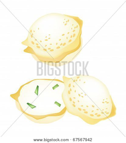 Thai Coconut Rice Cake On A White Background