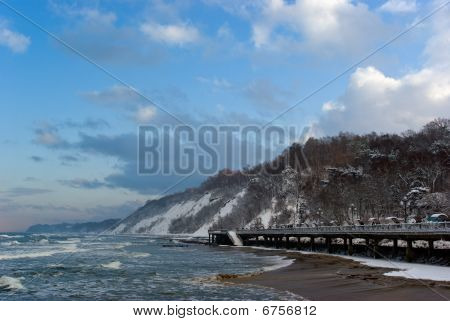 Winter Landscape: Baltic Sea Embankment In Svetlogorsk