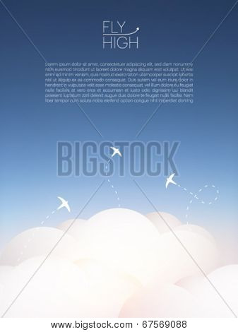 bird silhouettes above the clouds - vector illustration