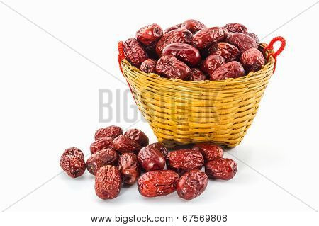 Dried Red Chinese Jujube In Basket.