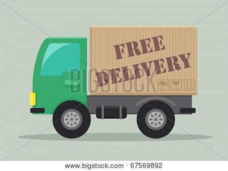 detailed illustration of a delivery truck with free delivery label, eps10 vector