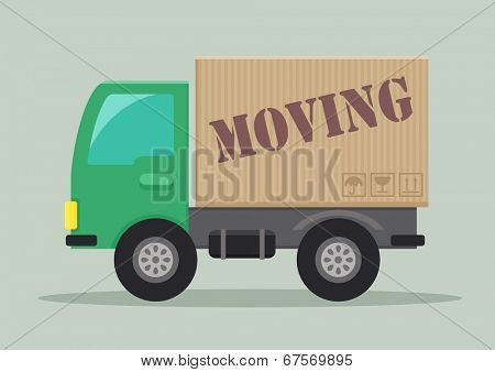 detailed illustration of a delivery truck with moving label, eps10 vector