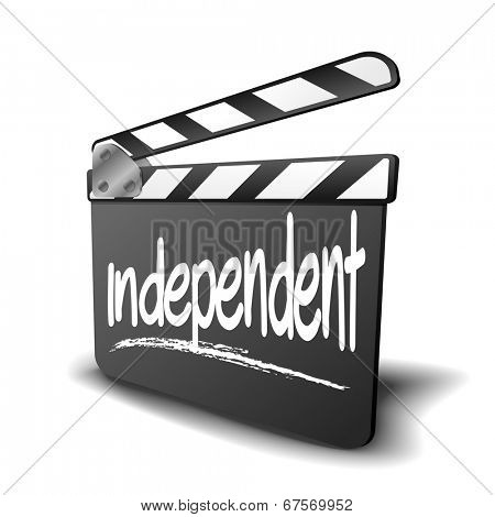 detailed illustration of a clapper board with independent term, symbol for film and video genre, eps10 vector