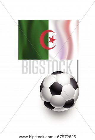 Illustration Of Soccer Balls Or Footballs With  Pennant Flag Of Algeria Country Team