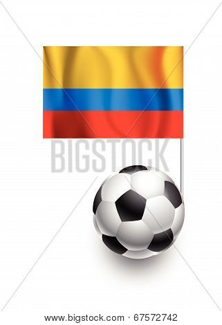 Illustration Of Soccer Balls Or Footballs With  Pennant Flag Of Colombia Country Team