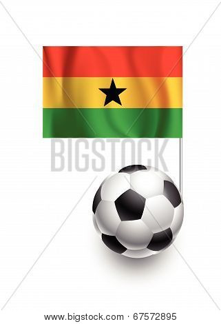 Illustration Of Soccer Balls Or Footballs With  Pennant Flag Of Ghana Country Team