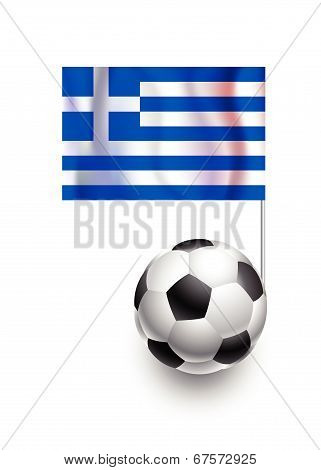 Illustration Of Soccer Balls Or Footballs With  Pennant Flag Of Greece Country Team