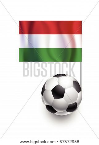 Illustration Of Soccer Balls Or Footballs With  Pennant Flag Of Hungary Country Team