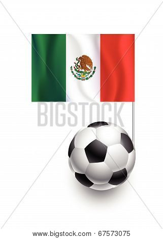 Illustration Of Soccer Balls Or Footballs With  Pennant Flag Of Mexico Country Team