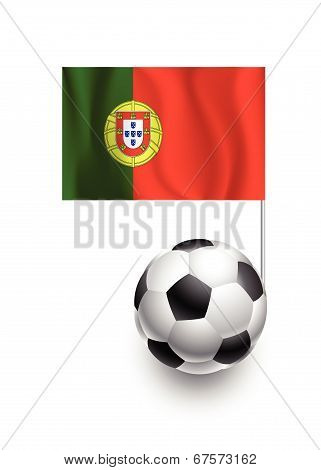 Illustration Of Soccer Balls Or Footballs With  Pennant Flag Of Portugal Country Team
