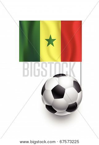 Illustration Of Soccer Balls Or Footballs With  Pennant Flag Of Senegal Country Team