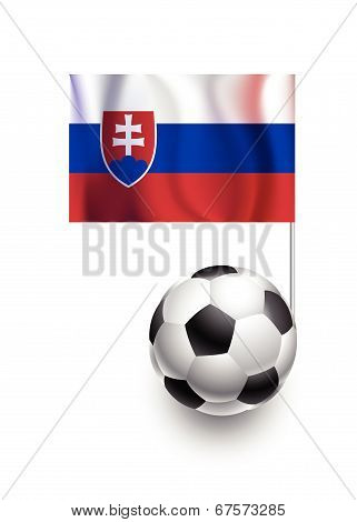 Illustration Of Soccer Balls Or Footballs With  Pennant Flag Of Slovakia Country Team