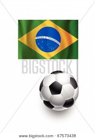 Illustration Of Soccer Balls Or Footballs With  Pennant Flag Of Brazil Country Team