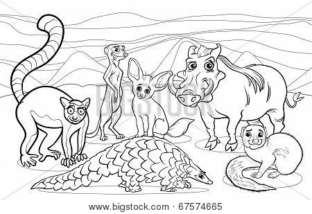 African Animals Cartoon Coloring Page