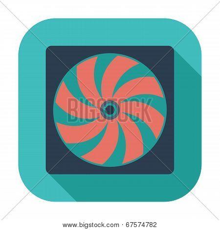 Radiator fan flat icon.
