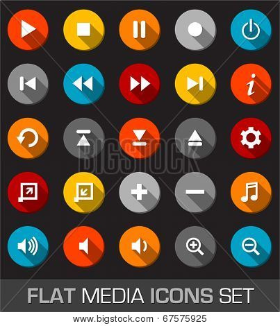 Flat media interface set icons with shadow