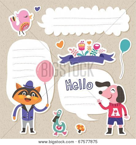 Stickers/ Gift tags with cute animals and text box for your message