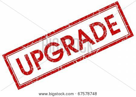 Upgrade Red Square Grungy Stamp Isolated On White Background