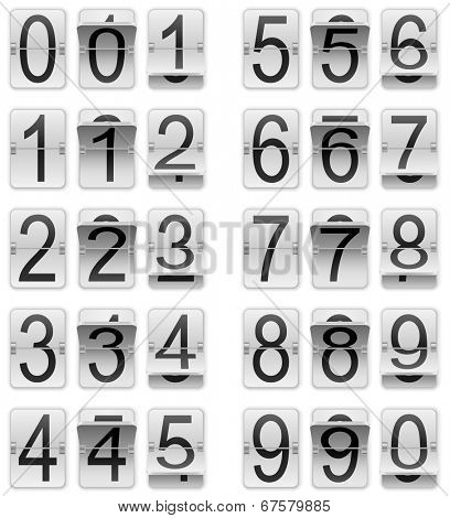 White mechanical scoreboard vector template isolated on white background.