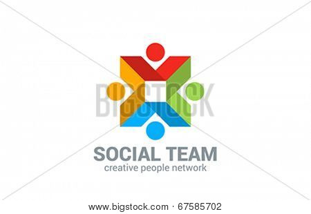 Social network vector logo design. Internet outernet teamwork symbol.  Team, friendship, partnership