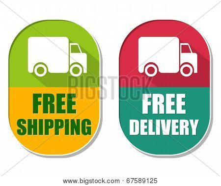 Free Shipping And Delivery With Truck Sign, Two Elliptical Labels