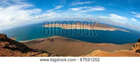 panorama of La Graciosa  - volcanic island, Canary