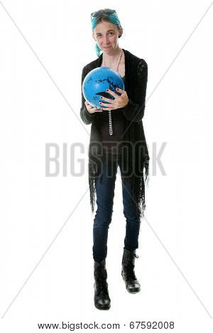 A young woman with Blue Hair that matches her Bowling Ball shows the proper pose before rolling the Bowling Ball down the alley to Victory! Isolated on white with room for your text.