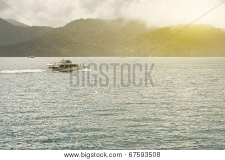 Boat over water at famous attraction, the Sun Moon Lake at Taiwan.