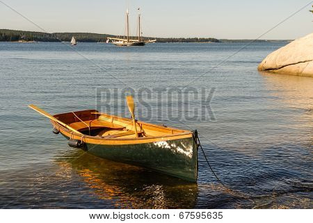 Dinghy And Windjammer Anchored