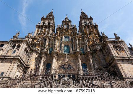Baroque Facade Of Santiago De Compostela Cathedral