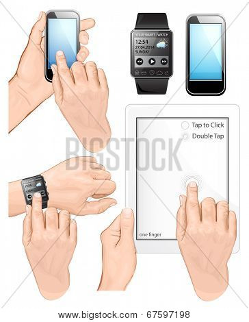 Tap or double-tap gestures for tablet pc, smart-watch and mobile phone. Hand holding mobile phone, tablet pc  and touching touch-screen.