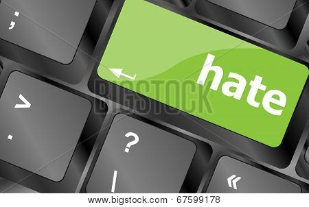 Computer Keyboard With Words Hate On Enter Button