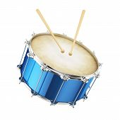 image of parade  - 3d render of blue drum isolated on white background - JPG
