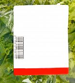 picture of iceberg lettuce  - iceberg lettuce in plastic bag package with price tag - JPG